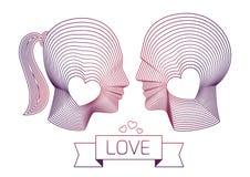 Lieben Sie Paare von Mann- und Frauenvektorprofilen Stockfoto
