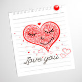 Lieben Sie Sie, Herz-flüchtige Notizbuch-Gekritzel Stockbilder