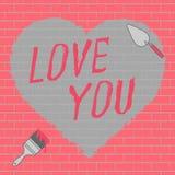 Lieben Sie Sie Text- und Herzillustration Vektor Abbildung