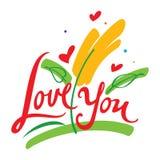Lieben Sie Sie und Blume Stockfotografie