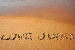 Lieben Sie Sie Vati - Beschreibung auf dem Strand Lizenzfreies Stockfoto