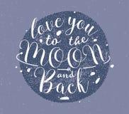 Lieben Sie Sie zum Mond und hintere Hand zur gezeichneten Beschriftung Einfarbige Vektorillustration auf purpurrotem Hintergrund Lizenzfreie Stockbilder
