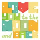 Lieben Sie Sie zum Mond und zur Rückseite Inspirierend Zitat Vektor Lizenzfreies Stockbild