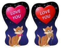 Lieben Sie Sie Valentinsgrußtageskarte mit einem großen Herzen und einer lustigen Katze Lizenzfreie Stockfotos