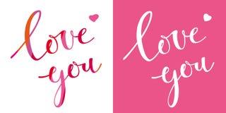 Lieben Sie Sie Vector Briefgestaltungsschablone für Valentinsgruß ` s Tag Stockbilder
