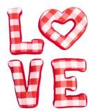 Lieben Sie Wort von den roten Buchstaben des Plüschs auf Weiß lokalisiert Stockbilder