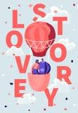 Liebende Fliege des glücklichen Paars im Luft-Ballon im bewölkten Himmel Romantische Flitterwochen-Reise, Valentine Day Love Stor vektor abbildung