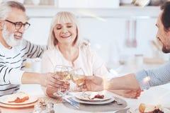 Liebende gealterte Eltern, die Mahlzeit mit ihrem erwachsenen Sohn genießen stockbild