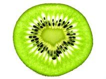 Liebes-Form-Kiwi schneidet einzelnes Stockbilder