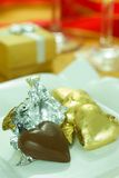 Liebes-Form-Schokolade Stockfoto
