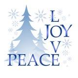 Liebes-Freuden-Friedensweihnachtskarte mit Baum und Schnee Lizenzfreie Stockfotos