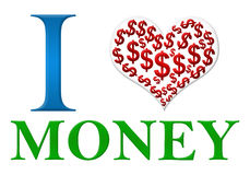 Liebes-Geld-rotes grün-blaues Stockbilder