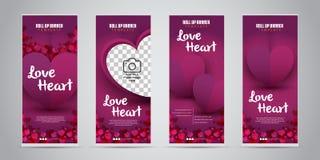 Liebes-Herz-Geschäft rollen oben Fahne mit der 4 verschiedener Design-Vektor-Illustration lizenzfreie abbildung