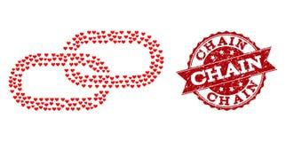 Liebes-Herz-Mosaik des Kettenikonen-und Schmutz-Wasserzeichens lizenzfreie abbildung