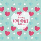 Liebes-Herz-nahtloses Muster auf romantischer Pastellfarbe Auch im corel abgehobenen Betrag stockbilder