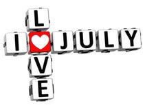 Liebes-Juli-Kreuzworträtsel 3D I Stockfoto