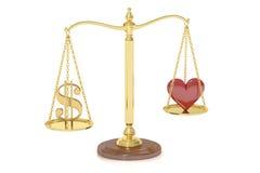 Liebes- oder Geldkonzept mit Skalen, Wiedergabe 3D Stockbild