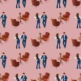 Liebes-Paare, die am Restaurant-nahtlosen Muster datieren stock abbildung