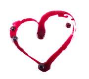 Liebes-roter Stau in Form von dem Herzen an lokalisiert Stockbild