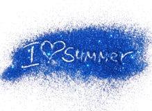 Liebes-Sommer der Aufschrift-I des blauen Funkelnscheins auf weißem Hintergrund Stockbild