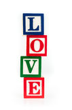 LIEBES-Spielzeug-Alphabetblöcke Stockfotografie