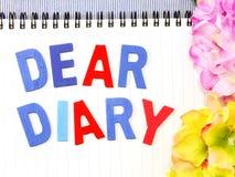 Liebes Tagebuchwort stockfoto