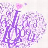 Liebes-typografischer Hintergrund Stockfotos