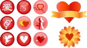 Liebes- und Romancevektorikonen Stockbild