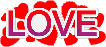 Liebes- und Valentinstagtextfahne Stockbild