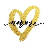 Liebes-Valentinsgrußherzgoldkarte Amore-Text Lizenzfreie Stockfotos