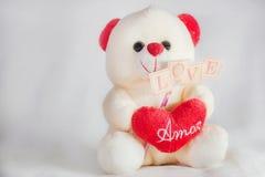 Liebes-Valentinsgrußweiß Teddy Bear Stockbilder