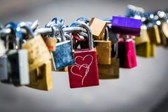 Liebes-Verschlüsse padlocked zu einem Zaun lizenzfreies stockbild