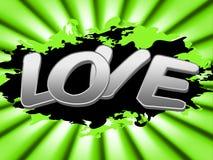 Liebes-Zeichen stellt mitfühlende Datierung und Anzeige dar Stockbild