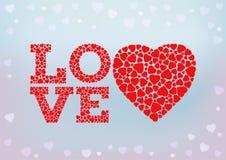 Liebesaufschrift mit Herzsymbol Lizenzfreie Stockbilder