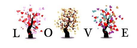Liebesbaum auf weißem Hintergrundisolat Stockbilder
