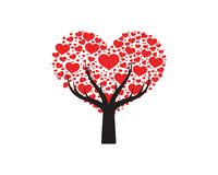 Liebesbaum mit Herzblattvektor lizenzfreie abbildung