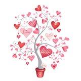 Liebesbaum mit Herzen in einem Topf Vektorabbildung getrennt auf weißem Hintergrund vektor abbildung