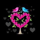 Liebesbaum mit zwei Vögeln lizenzfreie abbildung