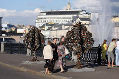 Liebesbaum in Moskau Stockbild