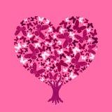 Liebesbaumillustration Valentinsgrußbaum von den Schmetterlingen lizenzfreie abbildung