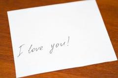 Liebesbrief auf Weißbuch Lizenzfreie Stockbilder