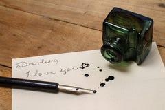 Liebesbrief - ich liebe dich mein Liebling - Liebesmitteilung lizenzfreies stockfoto