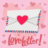 Liebesbrief mit Herzhintergrund Stockbild