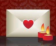 Liebesbrief und Kerzen Stockfotografie