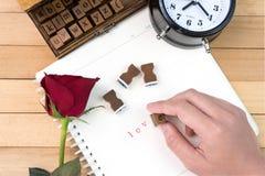 Liebesbriefstempel für Valentinstag Stockfotos