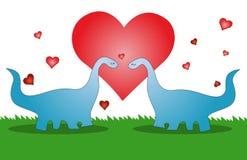 Liebesdinosaurier, die Karte des Valentinsgrußes Stockbild