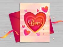 Liebesgruß-Kartenentwurf verziert mit kleinen Herzformen auf hölzernem Beschaffenheitshintergrund lizenzfreie abbildung