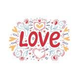 Liebeshand, die mit einem Dekor von Herzen und von Blumen beschriftet Auch im corel abgehobenen Betrag stock abbildung