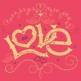 Liebeshandbeschriftung Valentinsgrußtageskarte lizenzfreie abbildung