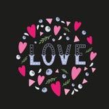 Liebeshandschriftliches Wort mit Dekorelementen Stockbild